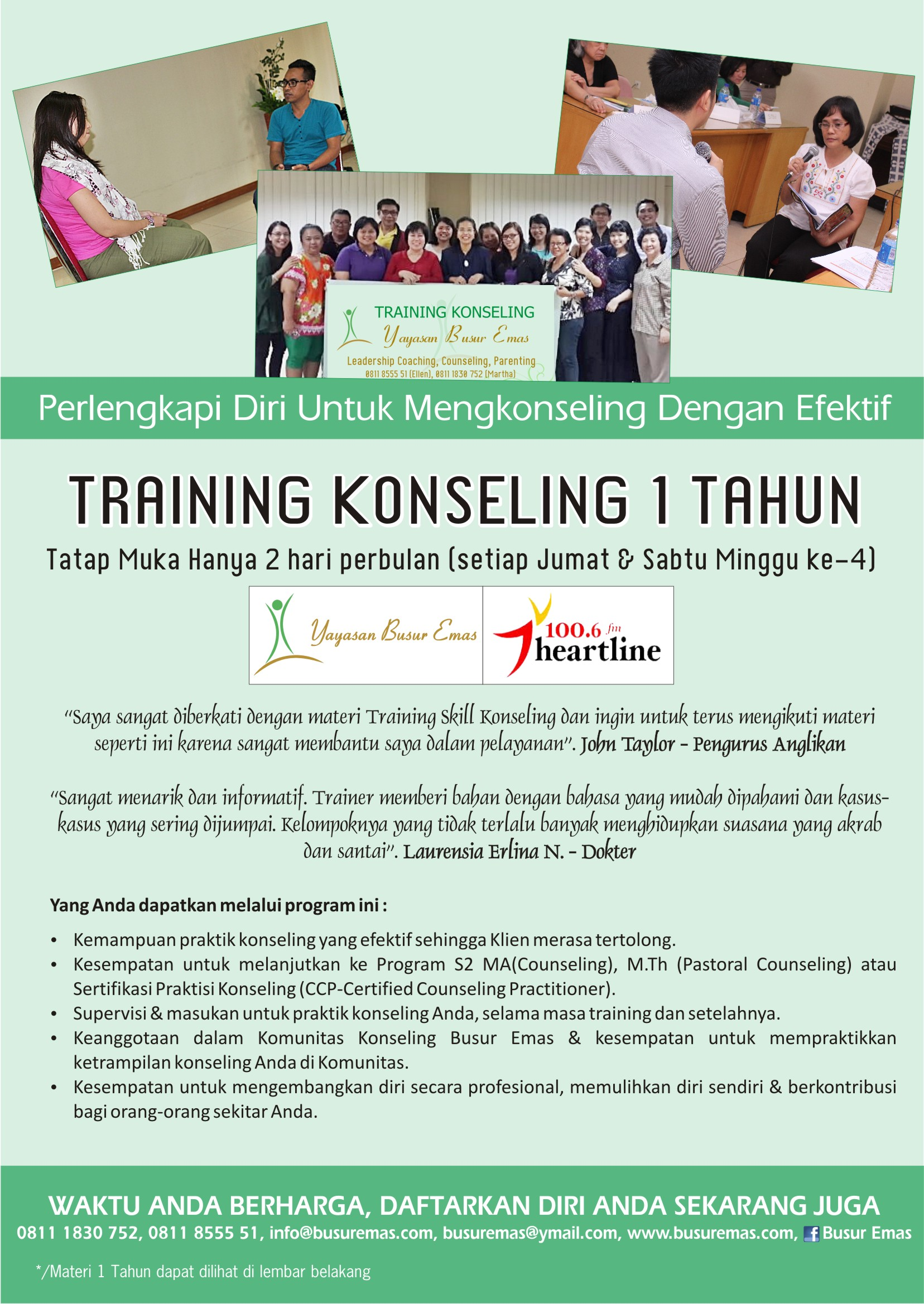 1 year counseling training